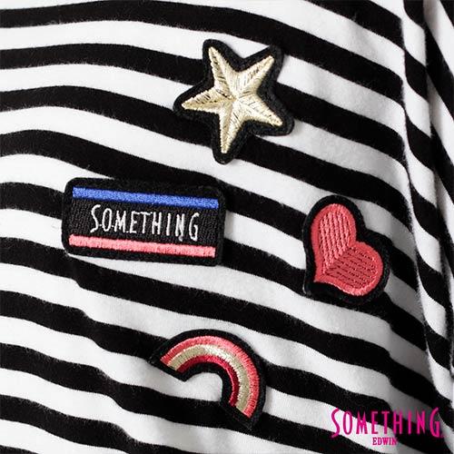 【週年慶。8折優惠↘】SOMETHING 童趣貼標 蕾絲橫條T恤 -女款 黑色 4