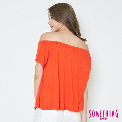 【週年慶。8折優惠↘】SOMETHING 隨興浪漫 荷葉剪裁兩穿上衣-女款 桔紅 1