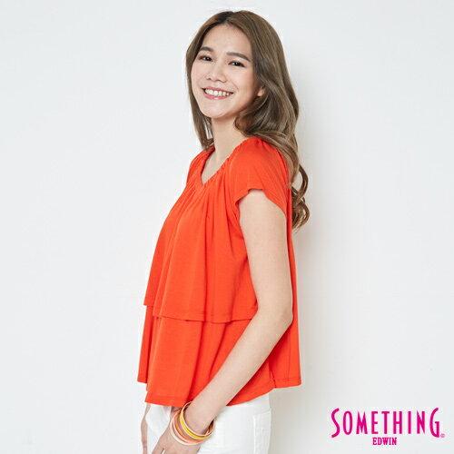 【9折優惠↘】SOMETHING 隨興浪漫 荷葉剪裁兩穿上衣-女款 桔紅 2