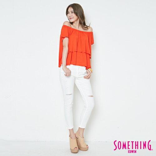 【週年慶。8折優惠↘】SOMETHING 隨興浪漫 荷葉剪裁兩穿上衣-女款 桔紅 3