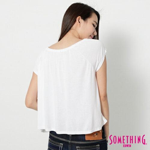 【9折優惠↘】SOMETHING 隨興浪漫 荷葉剪裁兩穿上衣-女款 白色 1