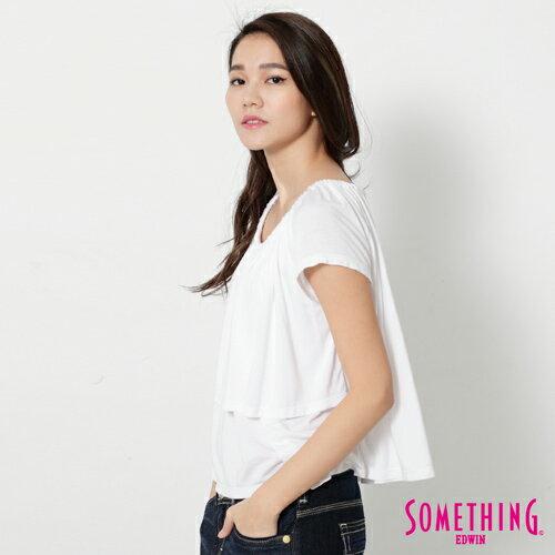 【9折優惠↘】SOMETHING 隨興浪漫 荷葉剪裁兩穿上衣-女款 白色 2