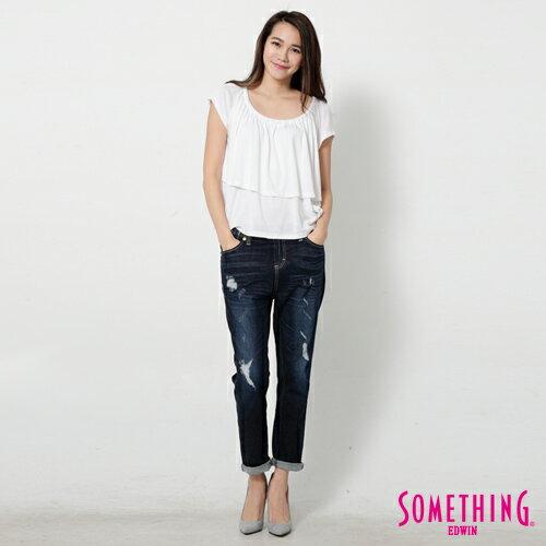 【9折優惠↘】SOMETHING 隨興浪漫 荷葉剪裁兩穿上衣-女款 白色 3