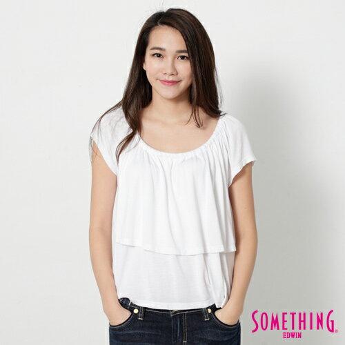 【9折優惠↘】SOMETHING 隨興浪漫 荷葉剪裁兩穿上衣-女款 白色 0