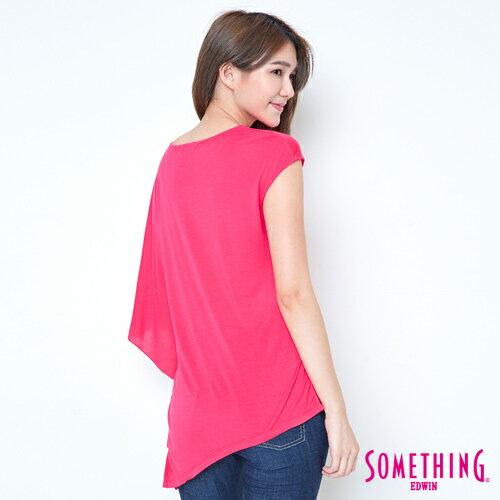 【週年慶。8折優惠↘】SOMETHING 不對稱造型 短袖T恤-女款 桃紅 1