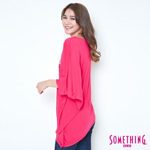 【週年慶。8折優惠↘】SOMETHING 不對稱造型 短袖T恤-女款 桃紅 2
