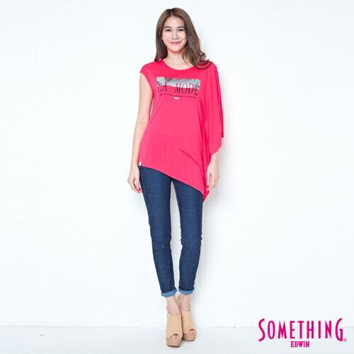 【週年慶。8折優惠↘】SOMETHING 不對稱造型 短袖T恤-女款 桃紅 3