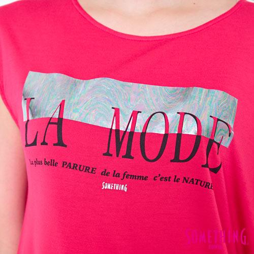 【週年慶。8折優惠↘】SOMETHING 不對稱造型 短袖T恤-女款 桃紅 4