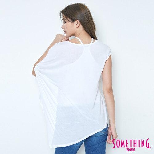 【週年慶。8折優惠↘】SOMETHING 不對稱造型 短袖T恤-女款 白色 1