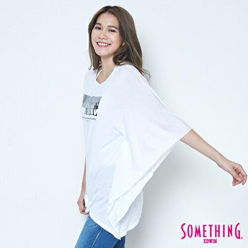 【週年慶。8折優惠↘】SOMETHING 不對稱造型 短袖T恤-女款 白色 2