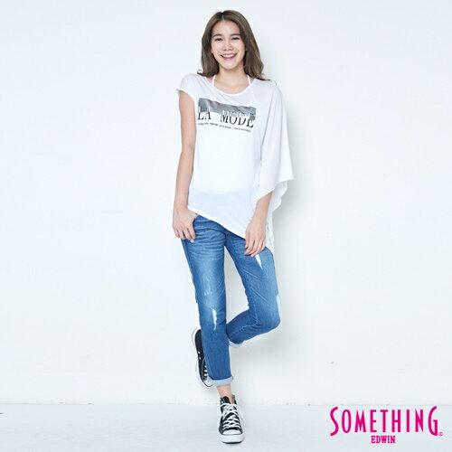 【週年慶。8折優惠↘】SOMETHING 不對稱造型 短袖T恤-女款 白色 3