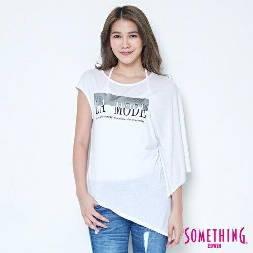 【週年慶。8折優惠↘】SOMETHING 不對稱造型 短袖T恤-女款 白色 0