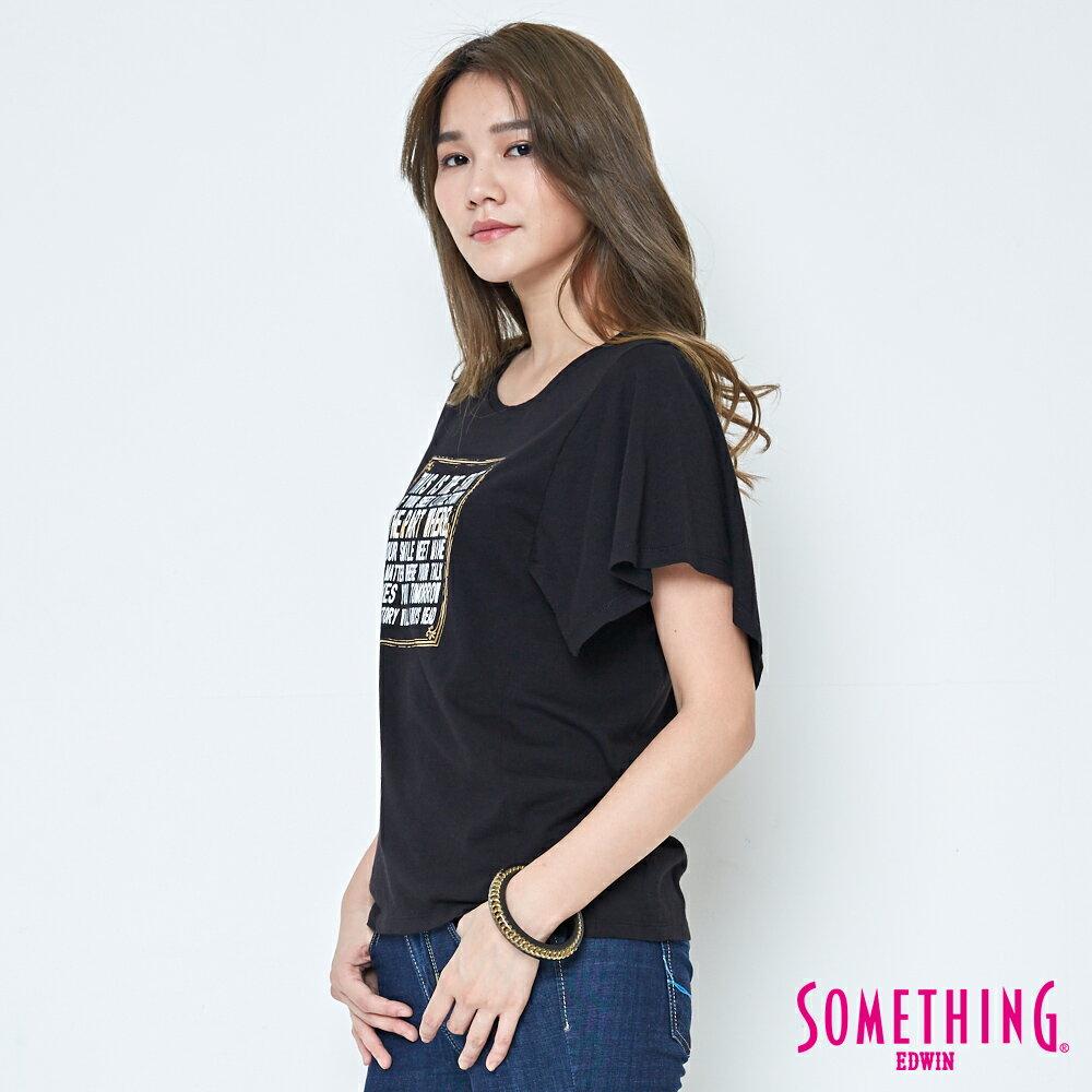【週年慶。8折優惠↘】SOMETHING 時尚寬袖 造型T恤-女款 黑色 2