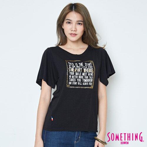 【週年慶。8折優惠↘】SOMETHING 時尚寬袖 造型T恤-女款 黑色 0