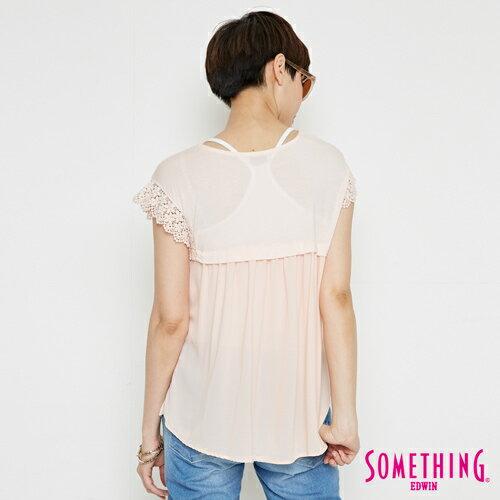【週年慶。8折優惠↘】SOMETHING 浪漫蕾絲袖 短袖T恤-女款 淡粉紅 1