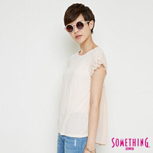 【週年慶。8折優惠↘】SOMETHING 浪漫蕾絲袖 短袖T恤-女款 淡粉紅 2
