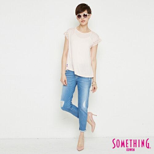 【週年慶。8折優惠↘】SOMETHING 浪漫蕾絲袖 短袖T恤-女款 淡粉紅 3