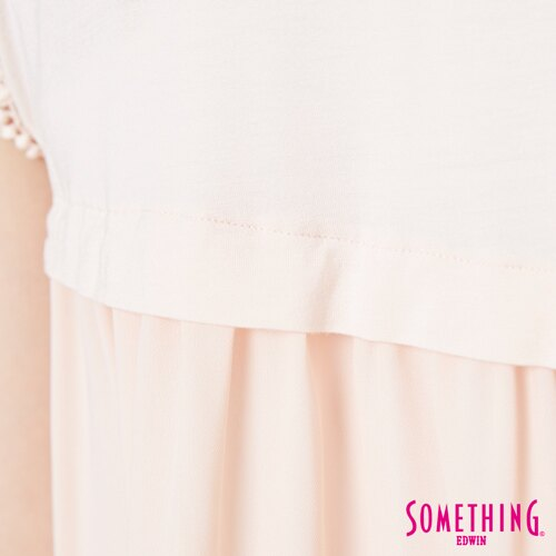 【週年慶。8折優惠↘】SOMETHING 浪漫蕾絲袖 短袖T恤-女款 淡粉紅 5