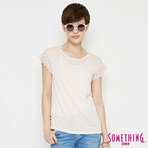 【週年慶。8折優惠↘】SOMETHING 浪漫蕾絲袖 短袖T恤-女款 淡粉紅 0