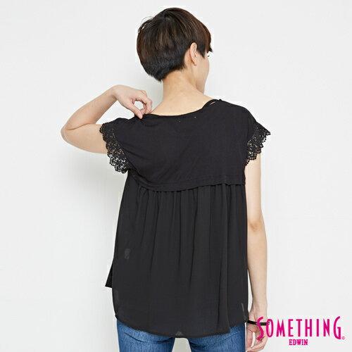 【9折優惠↘】SOMETHING 浪漫蕾絲袖 短袖T恤-女款 黑色 1