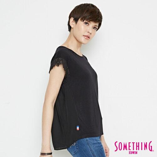 【9折優惠↘】SOMETHING 浪漫蕾絲袖 短袖T恤-女款 黑色 2