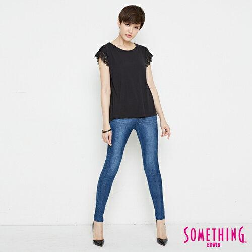 【9折優惠↘】SOMETHING 浪漫蕾絲袖 短袖T恤-女款 黑色 3