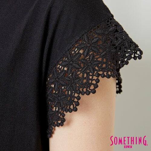 【9折優惠↘】SOMETHING 浪漫蕾絲袖 短袖T恤-女款 黑色 4
