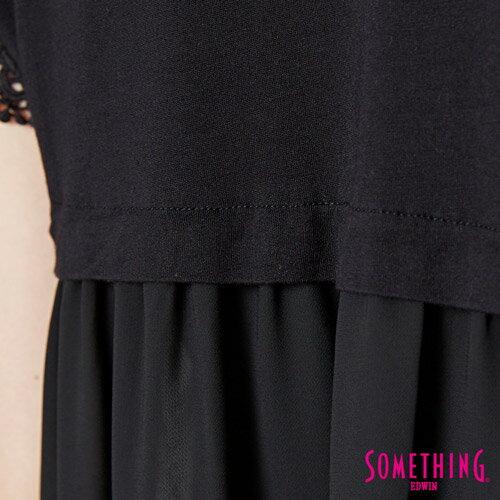 【9折優惠↘】SOMETHING 浪漫蕾絲袖 短袖T恤-女款 黑色 5