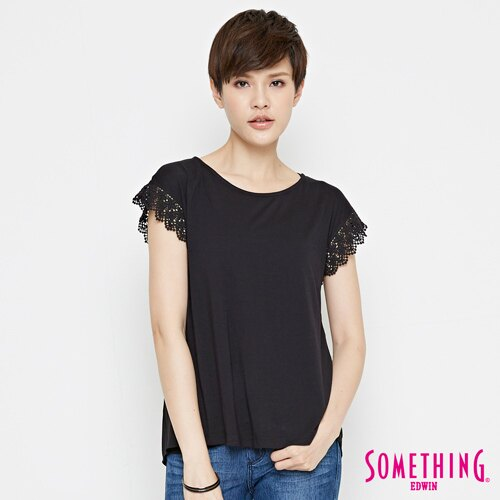 【9折優惠↘】SOMETHING 浪漫蕾絲袖 短袖T恤-女款 黑色 0
