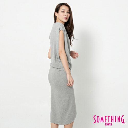 【9折優惠↘】SOMETHING 不對襯側開叉 修身洋裝-女款 麻灰 2