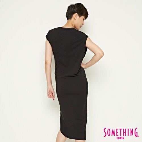 【週年慶。8折優惠↘】SOMETHING 不對襯側開叉 修身洋裝-女款 黑色 1