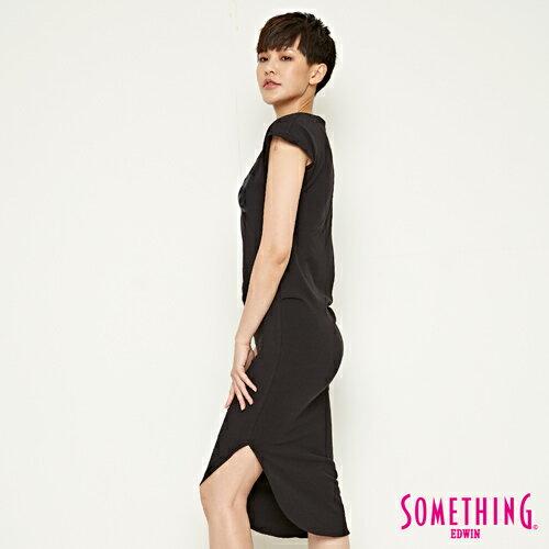【週年慶。8折優惠↘】SOMETHING 不對襯側開叉 修身洋裝-女款 黑色 2