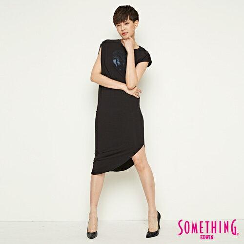 【週年慶。8折優惠↘】SOMETHING 不對襯側開叉 修身洋裝-女款 黑色 3
