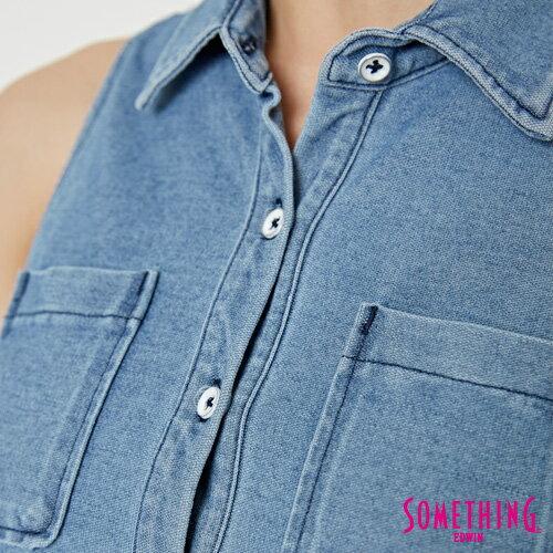 【週年慶。8折優惠↘】SOMETHING 蛋糕式 牛仔背心襯衫-女款 漂淺藍 4