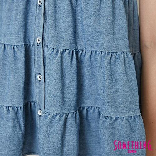 【週年慶。8折優惠↘】SOMETHING 蛋糕式 牛仔背心襯衫-女款 漂淺藍 5