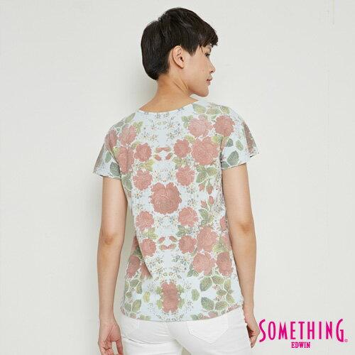 【9折優惠↘】SOMETHING 俏麗花卉 短袖T恤-女款 淡藍色 1