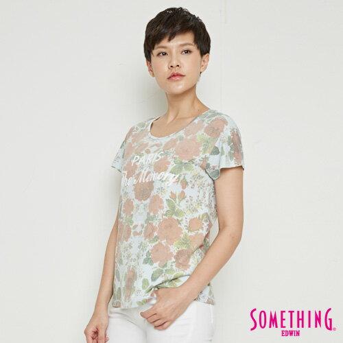 【9折優惠↘】SOMETHING 俏麗花卉 短袖T恤-女款 淡藍色 2