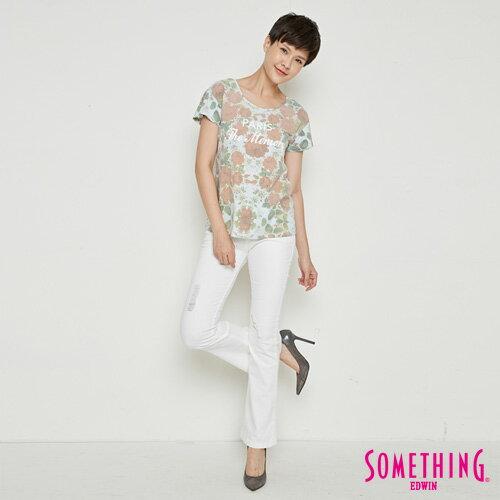 【9折優惠↘】SOMETHING 俏麗花卉 短袖T恤-女款 淡藍色 3