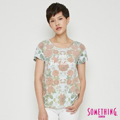 【9折優惠↘】SOMETHING 俏麗花卉 短袖T恤-女款 淡藍色 0
