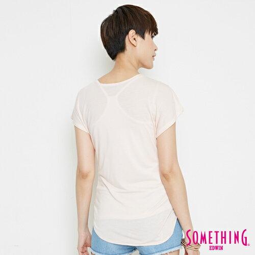 【週年慶。8折優惠↘】SOMETHING 優雅交疊 V領連袖T恤-女款 淡粉紅 1