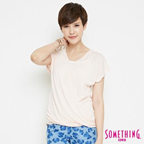 【週年慶。8折優惠↘】SOMETHING 優雅交疊 V領連袖T恤-女款 淡粉紅 0
