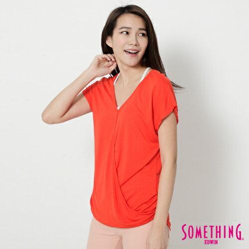 【週年慶。8折優惠↘】SOMETHING 優雅交疊 V領連袖T恤-女款 桔色 2