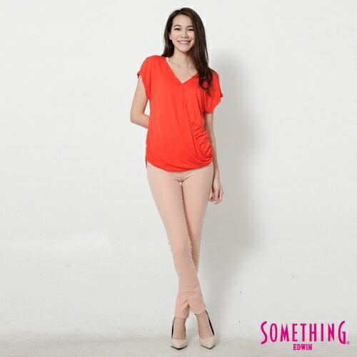 【週年慶。8折優惠↘】SOMETHING 優雅交疊 V領連袖T恤-女款 桔色 3