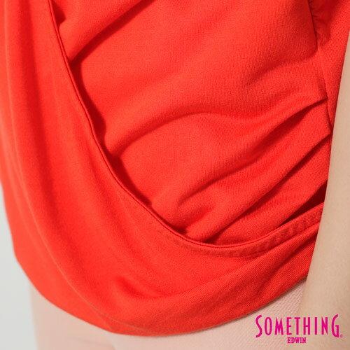 【週年慶。8折優惠↘】SOMETHING 優雅交疊 V領連袖T恤-女款 桔色 4