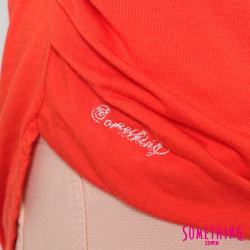 【週年慶。8折優惠↘】SOMETHING 優雅交疊 V領連袖T恤-女款 桔色 5