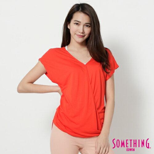 【週年慶。8折優惠↘】SOMETHING 優雅交疊 V領連袖T恤-女款 桔色 0