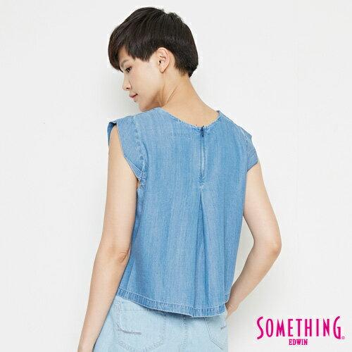 【9折優惠↘】SOMETHING 簡約丹寧 短版T恤-女款 中古藍 1