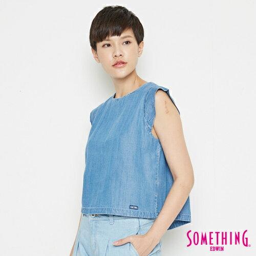 【9折優惠↘】SOMETHING 簡約丹寧 短版T恤-女款 中古藍 2