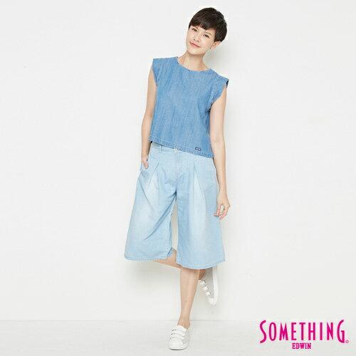 【9折優惠↘】SOMETHING 簡約丹寧 短版T恤-女款 中古藍 3