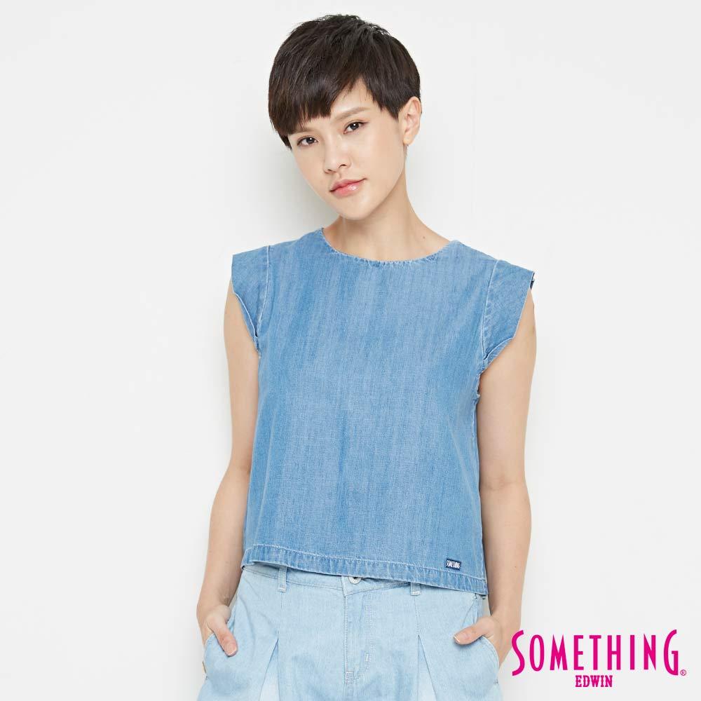 【9折優惠↘】SOMETHING 簡約丹寧 短版T恤-女款 中古藍 0